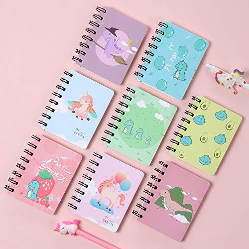 Cuaderno de Bolsillo, XiYee 8 Piezas Portátil Mini Hoja de Cuaderno, Patrón de Dibujos Animados Lindo, Bonito Diario, Cuaderno de Para Suministros de Oficina(02)