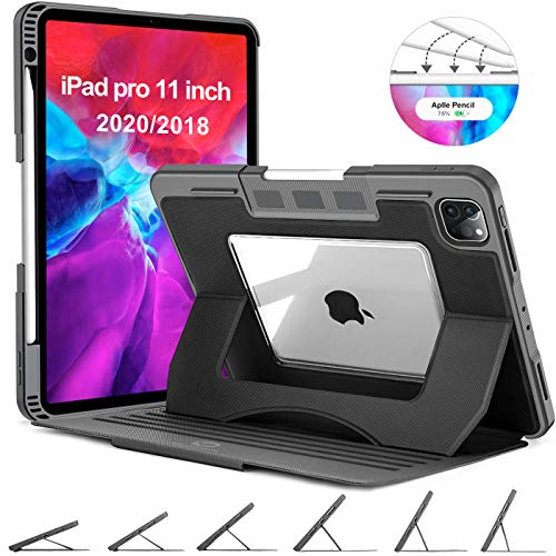 OCYCLONE iPad Pro 11 Case 2020, 6 Viewing Angles Magnetic Stand + Apple Pencil Holder + Auto Wake/Sleep + Heavy Duty Rugged Protective Clear Case for iPad Pro 11 inch 2nd/ 1st Generation Cover, Black
