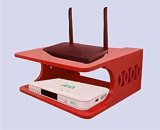 Brown Art Shoppee Set Top Box Stand Wall Shelves & WiFi Modem Rack for Living Room Design Like OD (Red)