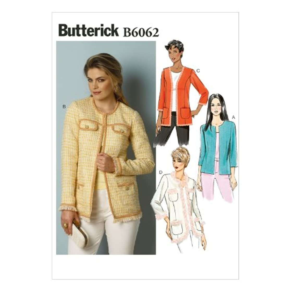 BUTTERICK PATTERNS B6062 Misses' Jacket Sewing Template, Size A5 (6-8-10-12-14)