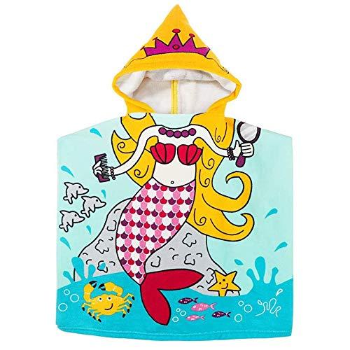 APIKA Kids Kapuzen Beach Towel Mikrofaser Badetuch Kinder Cartoon Kapuzen Bademantel Cute Poncho Towel(Meerjungfrau)