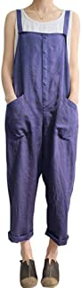 Women's Relaxed Fit Lightweight Linen Cropped Bib Overalls Baggy Jumpsuits