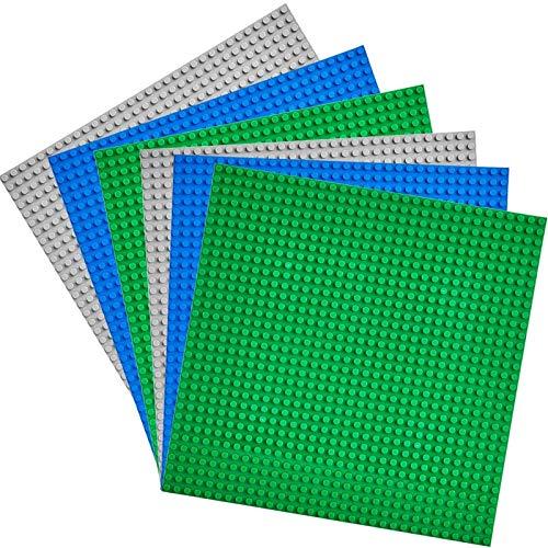 WYSWYG Grundplatten-Set,25*25cm,6 Stück Bausteine Grundplatte, Klassisch Quadrat Doppelseitig Blau Flache Straße Tafel Grundplatte für Aktivitätstabelle-Kinderspielzeug(2Grün, 2Blau, 2Grau)