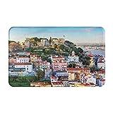 AIKIBELL Alfombrilla de baño,Castillo de San Jorge en Lisboa, Hotel Portugal,alfombras Antideslizantes para decoración del hogar,Felpudo Suave y Duradero