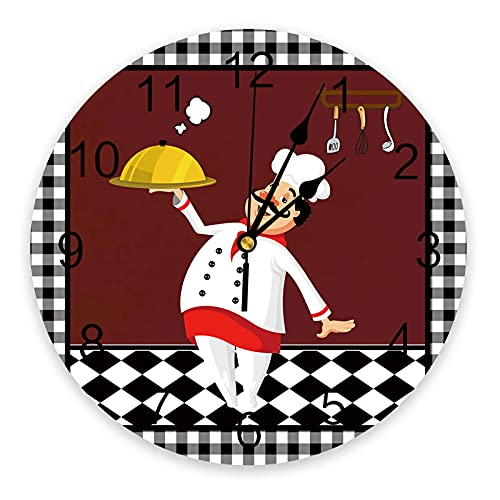 Reloj de Pared Redondo Relojes silenciosos para Colgar en la Pared Chef de Cocina con Cuchillo y Tenedor para cocinar Alimentos Celosía en Blanco y Negro Relojes a Pilas para Cocina, Dormitorio, Sala