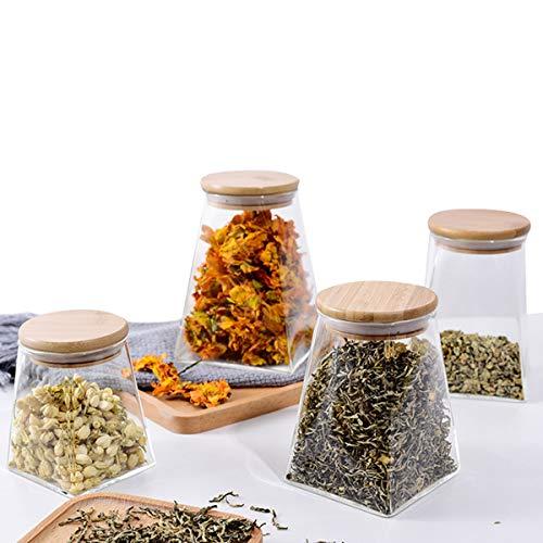 KAILUN Tarros De Cristal con Tapa Conjunto De 4, Botes De Vidrio De Borosilicato con Tapa De Bambú Y Anillo De Sellado De Silicona, Hermético Transparente Cocina Recipientes para Alimentos