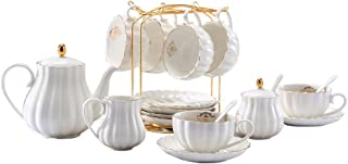 YoungQI Porcelain Tea Coffee Sets with Teapot Sugar Bowl Cream Pitcher Teaspoons and tea strainer for Tea/Coffee, Cups& Saucer Service for 6(Lily white)