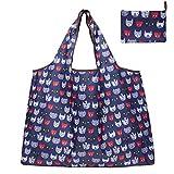 WANDF エコバッグ 折りたたみ 買い物袋 買い物バッグ 防水素材 大容量 (ネコ)