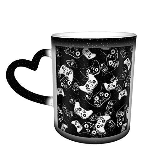 Taza de café de cerámica que cambia el calor, videojuego blanco sobre negro sensible taza de té mágica para café, té, leche o cacao para hombres y mujeres
