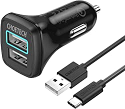 CHOETECH USB C Car Charger, 30W Dual USB Car Charger (QC3.0)Compatible with iPhone 11/11 Pro/11 Pro Max/XS/XS Max/X/XR/8, Quick Charge 3.0 with USB C Cable Compatible with Galaxy Note 10/S10/S9/S8/LG