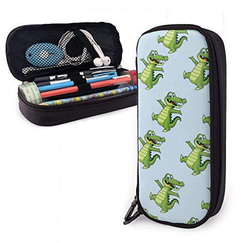 Pen Pencil Case PU Leder Grüne Krokodile Beutel mit Reißverschluss Organizer Study Stationery Bag Holder College Office Business Desk