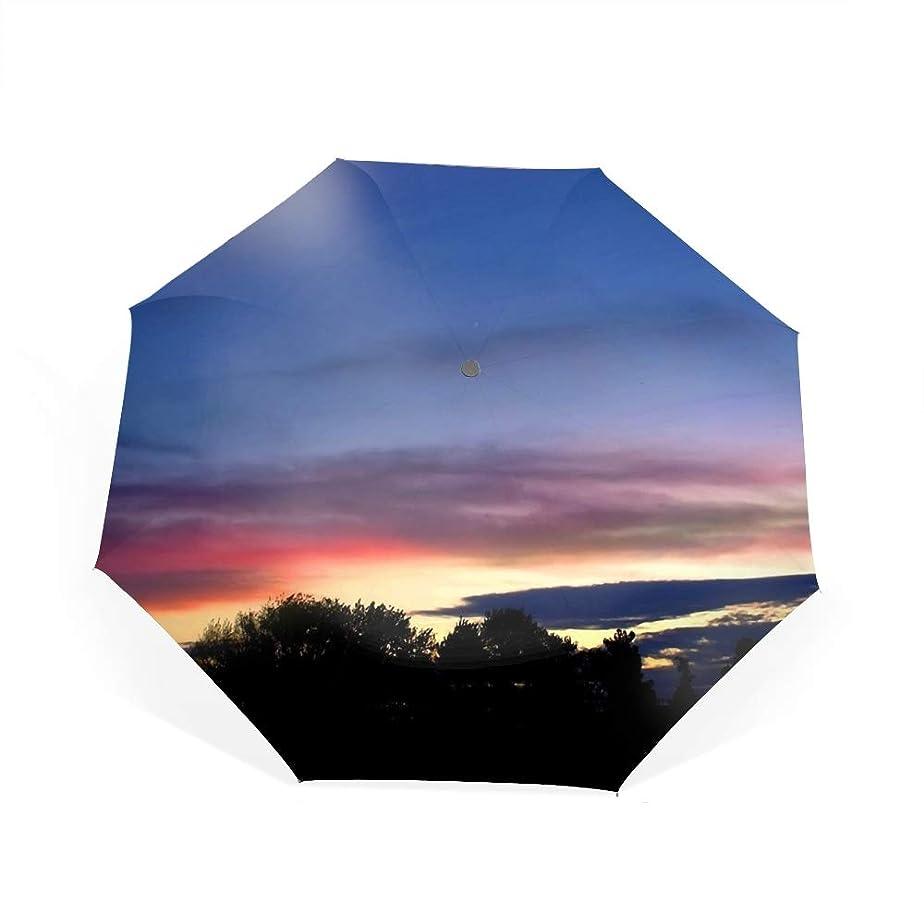 リボン絶望的な奨励します日没自動開閉折り畳み傘 2重構造 耐風撥水8本骨 男女兼用 丈夫 大型 大きな傘 梅雨対策 収納ポーチ付き