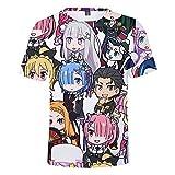 Re: Vida en un Mundo Diferente Desde Cero Camiseta de la Camiseta 3D T-Shirt de la Camiseta de los Hombres de Verano Natsuki Subaru Emilia REM Tops de Anime tee-1_XXXXL