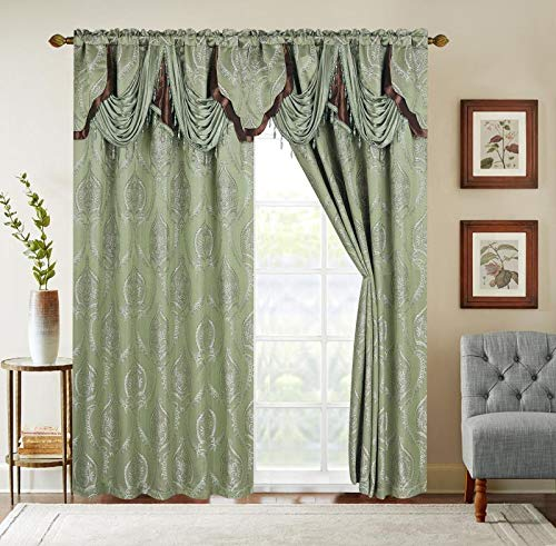"""Sapphire Home Jacquard Window Curtain Drape Panels (2 Panels w/Attached Valance and Sheer Backing + 2 Tassels), Traditional Elegant Damask Pattern, Living Dining Room Drapes, (Vine, 84"""", Sage)"""