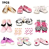 BARWA 18 Inch Doll Shoes 5 Pair Shoes with 2 Pairs of Socks Accessories (Get Panda Shoes and Boots or Skates)