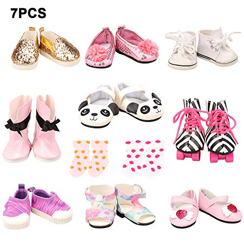 Barwa 18 Inch Doll Shoes 5 Pair Shoes with 2 Pairs of Socks Accessories (Get Boots or Skates) for 18 inch Girl Doll