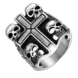 JewelryWe Schmuck Herren-Ring, 23mm Breit Edelstahl Biker Totenkopf Schädel mit Kreuz Siegelring Band Ring, Silber, Größe 59, kostenlos Gravur