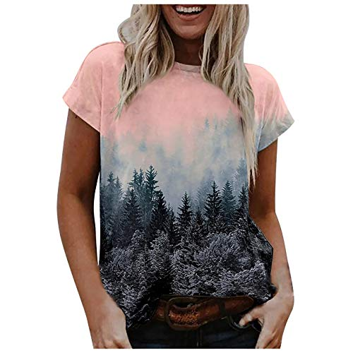 Womens Summer Short Sleeve Tops Landscape Print T-Shirt O-Neck Blouses,Womens Tops Pink