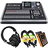 Tascam DP-24SD 24-Track Digital Portastudio Multi-Track Audio Recorder with Pro Headphone and Pair of EMB XLR Cables and Gravity Magnet Phone Holder Bundle