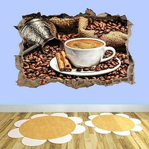 Pegatinas de pared Taza de café Pegatinas de arte de pared Mural Cocina Comedor Decoración de oficina en casa AD28