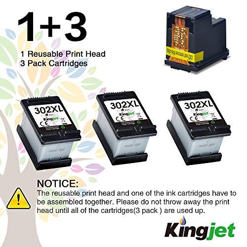 Kingjet 302XL remanufacturado como repuesto para HP 302 XL 302XL cartuchos de impresora para HP Deskjet 2130 3630 3632 3636 Envy 4520 4525 4527 4524 Officejet 3830 3834 4650 4651 2 465 4(3 Negro)