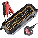 Battery Charger,12V/6V 5A Car Battery Charger Maintainer with Automatic Portable Battery 3-Steps Charging...