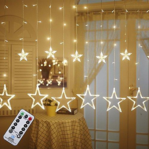 Lichterkette B-right 12er Sterne Lichterkette mit Fernbedienung, warmweiß Lichterkette strombetrieben, 5m Lichterkette Vorhang mit 138 Leds, erweiterbar, für Weihnachten Hochzeit Party Weihnachtsbaum