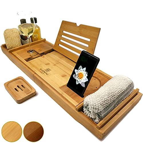 Blooming Lily - Bandeja de baño con Soporte para Copa de Vino, iPad, móvil y más (Natural - Soporte Madera)
