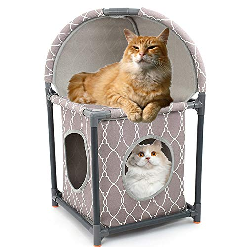 PJDDP Cat House Cat Tree 2 Tier Assemblable Cat Condo, Cat Bed Furniture Cat Tower Combined Hammock Cat Jungle with Extra Thick Plastic Tube And Comfortable Flannel,Cozy Perches