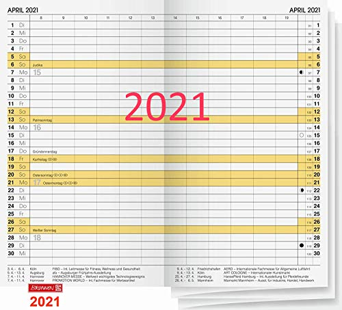 Brunnen 10746001 Einlage für Taschenkalender Faltkalender Modell 746 Ersatzkalendarium 2 Seiten = 1 Monat, 8,7 x 15,3 cm, Kalendarium 2021