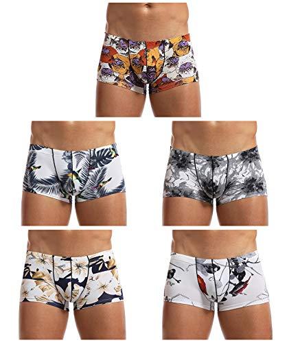 Arjen Kroos Herren Boxershorts Unterwäsche für Männer Men Sexy Boxer Shorts Briefs mit Muster Trunk Retroshorts Retropants Unterhosen Hipster (Mehrfarbig (5er Pack)-AK7056, M(71-78cm))
