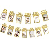 Whaline 1st Birthday Baby Photo Banner for Newborn to 12 Months, Monthly Milestone Photograph Bunting Garland, First Birthday Celebration Decoration (Gold)