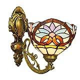 LHQ-HQ Sencillo Británico del vidrio manchado espejo Faros Jardín de noche la lámpara de pared del pasillo flor de Sun de una sola cabeza de cristal lámpara de pared de la decoración de la pared de lu