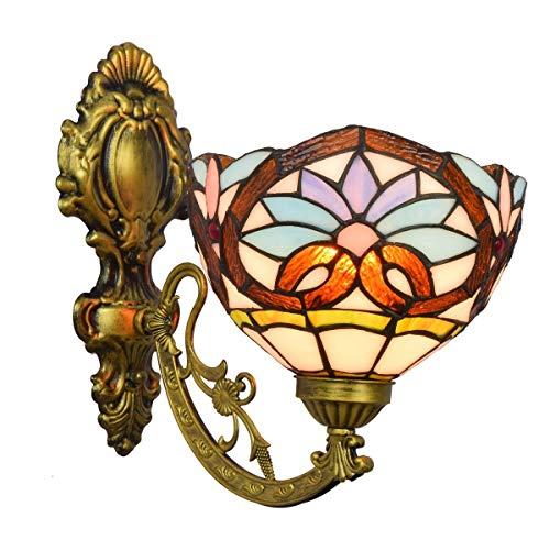 BXU-BG Lámpara de pared decoración sencilla británica del vidrio manchado espejo Faros Jardín de noche la lámpara de pared del pasillo flor de Sun de una sola cabeza de cristal lámpara de pared