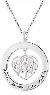 Collar con Nombre Personalizado, Colgante con árbol de la Vida, con Grabado Grabado para Abuela o Mujer