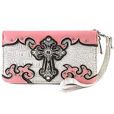 Justin West Concealed Carry Western Croc Cross Duo Color Shoulder Handbag Purse (White Pink Flat Wallet)