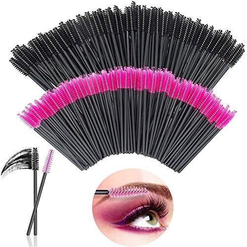[200Pcs] Brosses à Cils, LauCentral Brosse Extension Cils, Plastique Applicateur Mascara Pinceau Brosse Pour Cil Sourcils Yeux Maquillage(Rose/Noir)