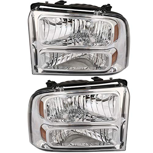 LSAILON Headlight Assembly Driver and Passenger Side For Ford F-250,For Ford F-350,For Ford F-350 Super Duty,For Ford F-450 F-550 Super Duty 2005-2007 Chrome Housing Amber Reflector Clear Lens