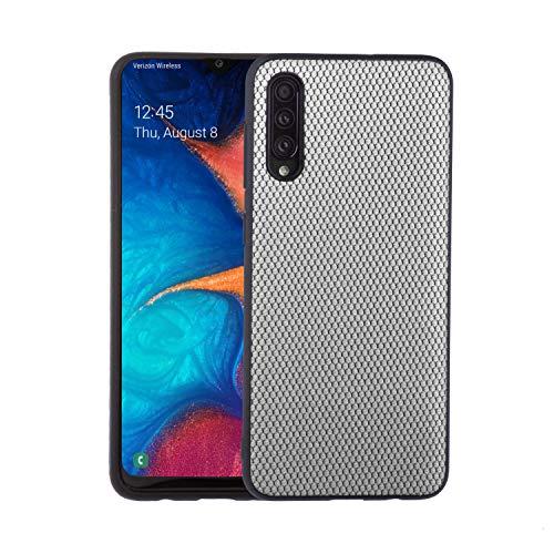 Lilware Doek X Textuur Kunststof Telefoonhoesje voor Samsung Galaxy A50S, Lichtgrijs