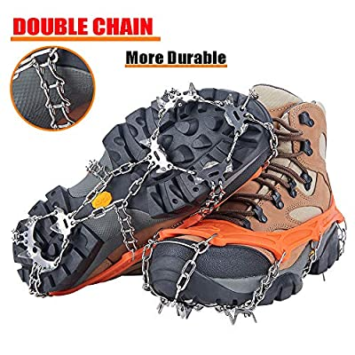 Uelfbaby Walk Traction Cleats Ice Snow Grips Anti Slip Stainless Steel Spikes 19 Teeths Crampons for Boots Shoes L/XL/XXL