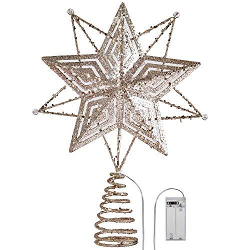 Estrella de Cinco Puntas Árbol de Navidad, 28cm Adornos Copa del árbol de Navidad de Metal con 10 Luces LED Cálidas, Decoraciones de Navidad Funciona con Batería No Incluida