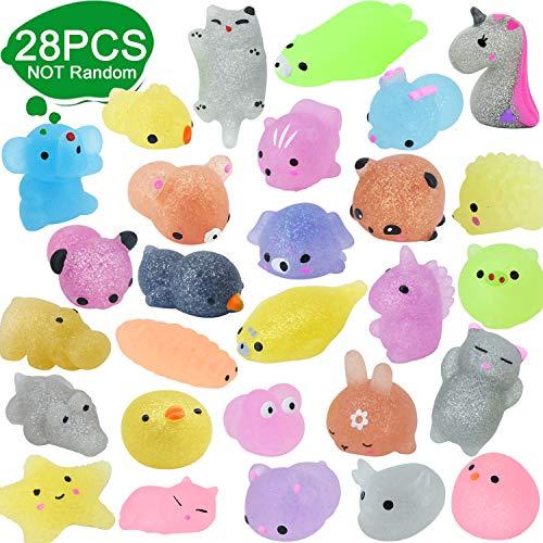 28pcs Squishy Toys Glitter Mochi Party Gefälligkeiten für Kinder Tiere Squishy Stressspielzeug Einhorn Panda Kaninchen Frosch Schweinchen Elefant Eisbär Siegel Katzenspielzeug für Mädchen & Jungen