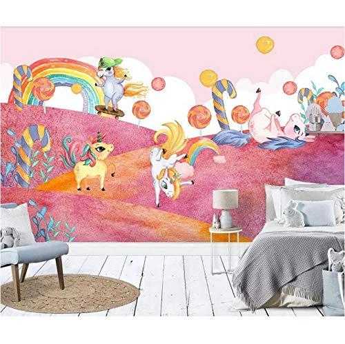 sala Dibujos animados personalizados modernos 3D mural nórdico cuento de hadas rosa bosque unicornio caramelo habitación de los niños fondo pared dormitorio hotel marco decorativo-1