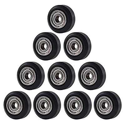 Aokin 3D Printer POM Wheel Plastic Pulley Linear Bearing for Creality Ender 3, Ender 3 Pro, CR-7, CR-8, CR-10, CR-10S Series 3D Printer, 10 Pcs