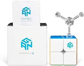 GAN 249 V2 M, 2x2 Magnetic Speed Cube Gans 249M Mini Cube Magic 2x2x2 Puzzle Toy (Stickerless)