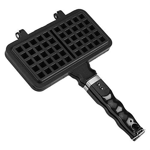 Waffle Iron Maker, Rectangle Shape Non-stick Aluminum Stovetop Waffle Mold Iron Baking Pan Making Tool Maker Press Plate Kitchen