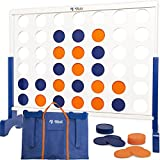 Rally and Roar Giant 4 in A Row, 4 to Score with Carrying Bag - Premium Wooden Four Connect Game Set in 2' White Wood - Oversized Family Outdoor Party Games for Backyard, Lawn, Parties, Bar Game