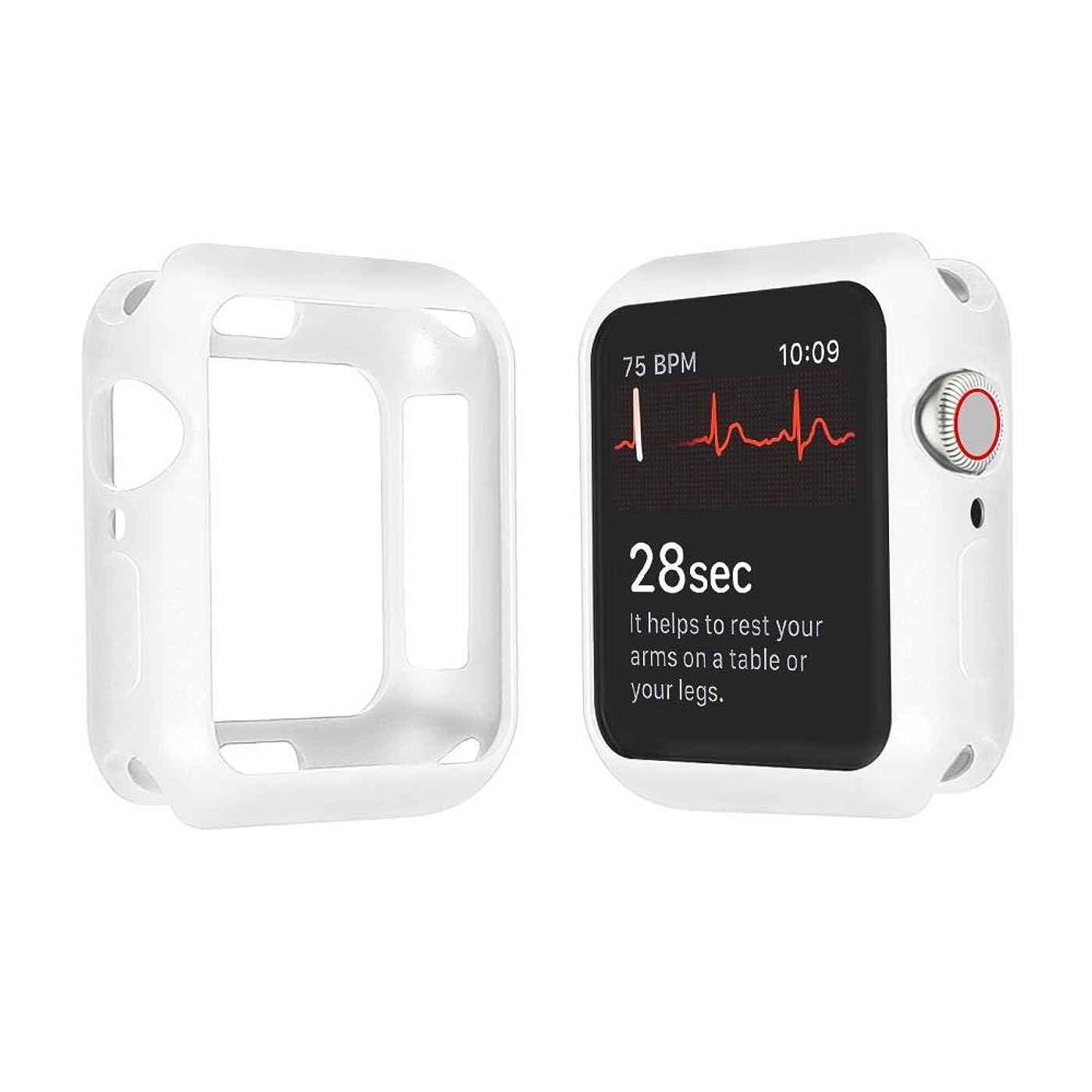 スリル同性愛者馬力Apple Watch ケース 40mm Series4 磨砂 TPU ケース 脱着簡単 柔軟 耐衝撃ケース 落下防止 傷防止 Case アップルウォッチ シリーズ 4 (40mm, 白)