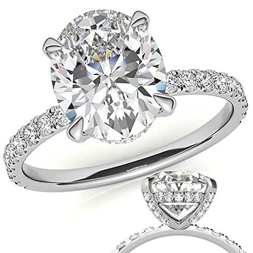 Customize Jewels - Anillo de compromiso ovalado de Moissanita de 4,00 quilates de 11 x 9 mm con diamante de laboratorio en oro blanco de 14 k D-VVS1 7