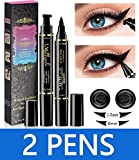 Eyeliner Stamp - iMethod 2 Pens Winged Eyeliner Stamp, Perfect Wing Cat Eye Stamp, Long Lasting Liquid Eye Liner, Waterproof & Smudgeproof Makeup, Flick Stick & Vamp Style Wingliner, No Dipping
